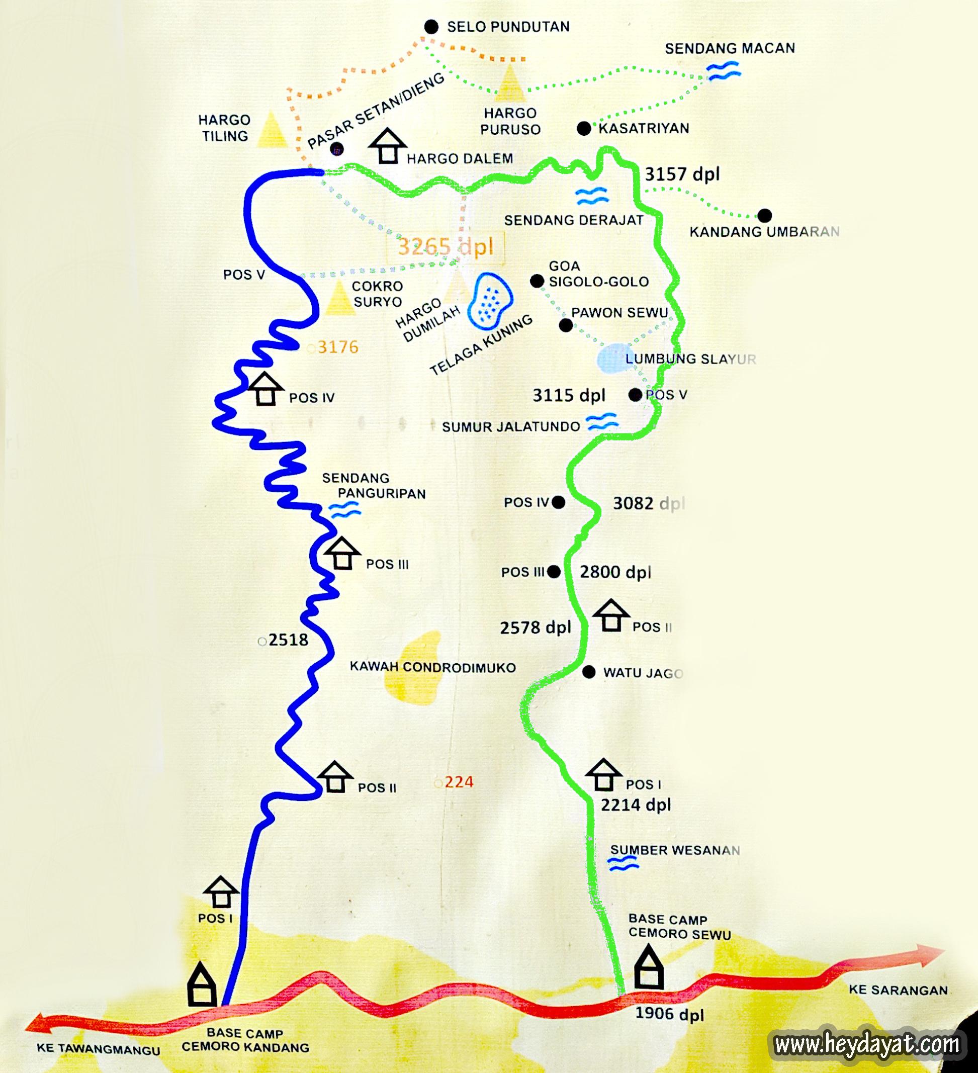 Peta jalur pendakian Gunung Lawu via Cemoro Kandang dan Cemoro Sewu