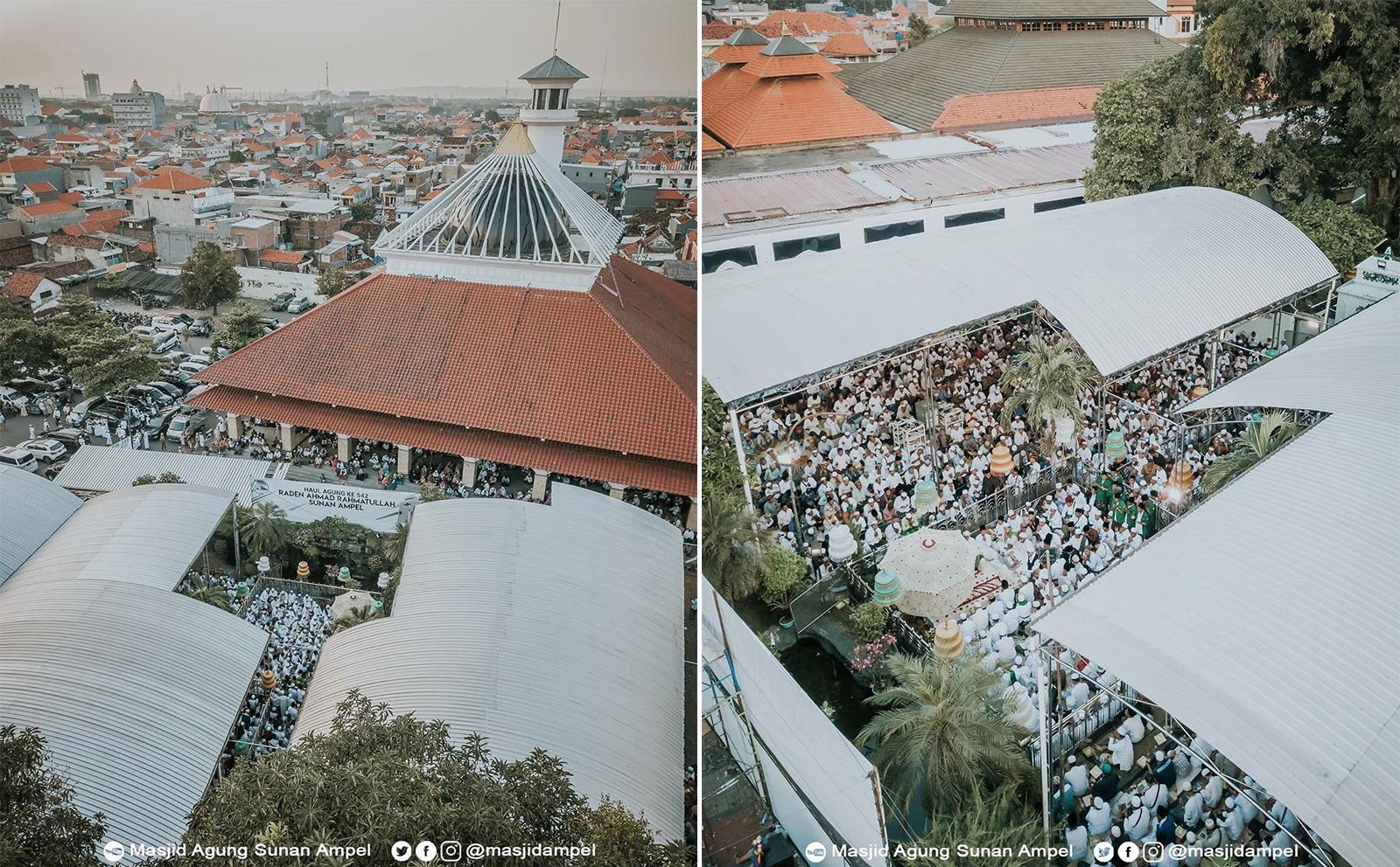 Masjid Agung Sunan Ampel difoto dari atas